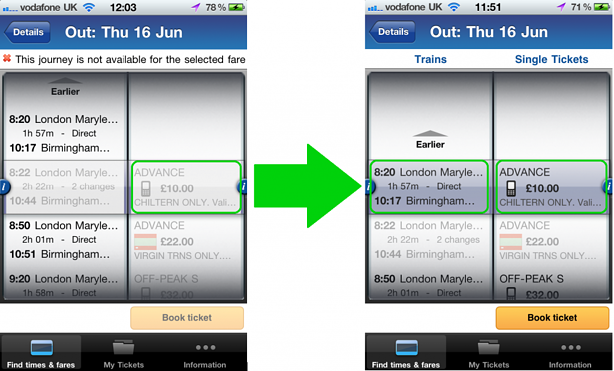 Select the ticket - or train - you want and the app will do the rest