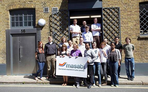 The Masabi team outside the new office
